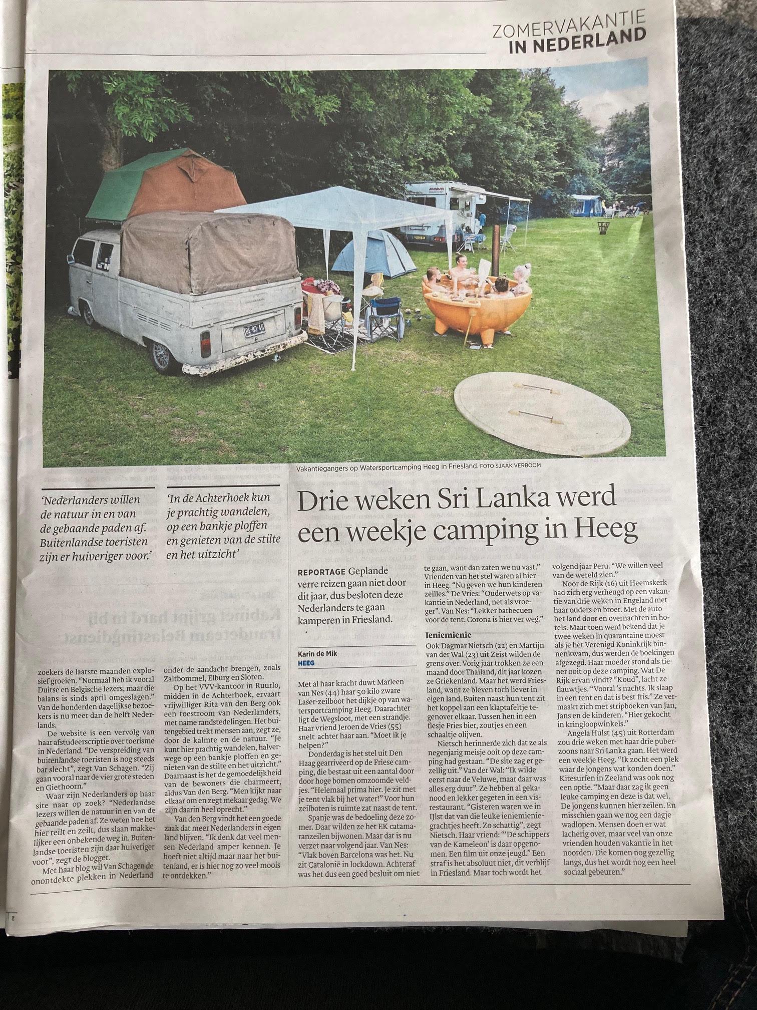 Artikel Trouw: Drie Weken Sri Lanka Werd Een Weekje Camping In Heeg
